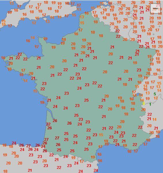 Temperatura maksymalna we Francji 27 lutego (wetteronline.de)