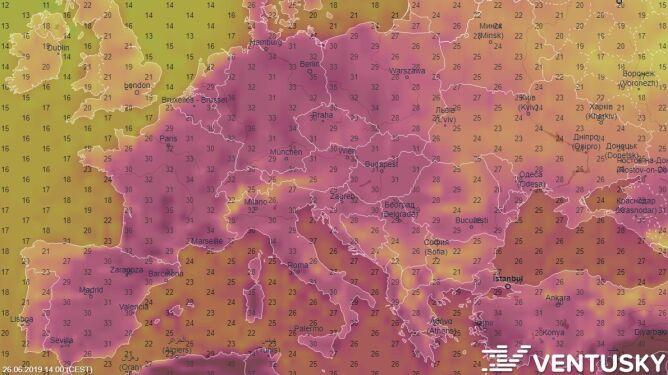 Prognoza temperatury, środa 26/06, model GFS