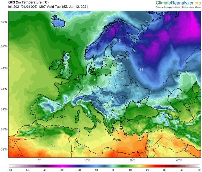 """Prognozowana temperatura 12 stycznia. Na mapie widać """"bestię"""" na wschodzie (GFS, ClimateReanalyzer.org)"""