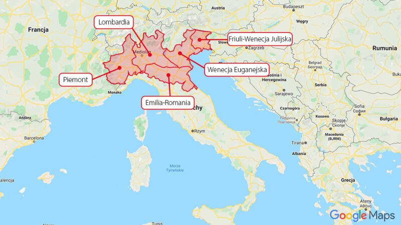 W regionach Lombardia, Wenecja Euganejska, Piemont, Emilia-Romania oraz Friuli-Wenecja Julijska lokalne władze zdecydowały o zamknięciu od szkół i uniwersytetów (Google Maps/tvn24.pl)