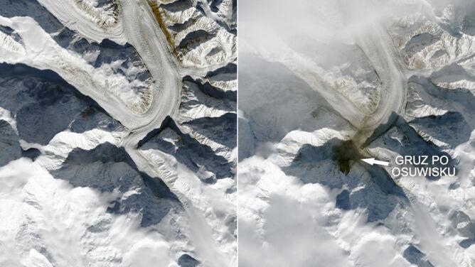 Ogromne osuwisko w Kanadzie widoczne z kosmosu