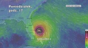 Prognozowane porywy wiatru podczas huraganu Dorian (Ventusky.com)